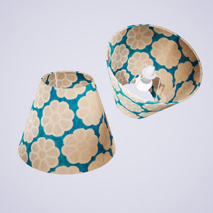 Conical Lamp Shade P23 - Batik Big Flower on Teal, 15cm(top) x 30cm(bottom) x 22cm(height)