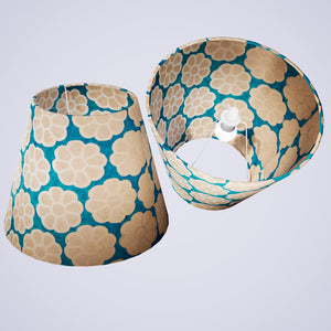 Conical Lamp Shade P23 - Batik Big Flower on Teal, 23cm(top) x 40cm(bottom) x 31cm(height)
