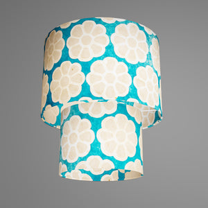 2 Tier Lamp Shade - P23 - Batik Big Flower on Teal, 30cm x 20cm & 20cm x 15cm