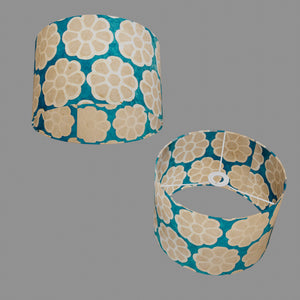 Drum Lamp Shade - P23 - Batik Big Flower on Teal, 30cm(d) x 20cm(h)