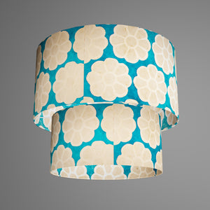 2 Tier Lamp Shade - P23 - Batik Big Flower on Teal, 40cm x 20cm & 30cm x 15cm