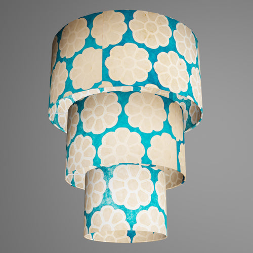 3 Tier Lamp Shade - P23 - Batik Big Flower on Teal, 40cm x 20cm, 30cm x 17.5cm & 20cm x 15cm