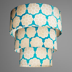 3 Tier Lamp Shade - P23 - Batik Big Flower on Teal, 50cm x 20cm, 40cm x 17.5cm & 30cm x 15cm