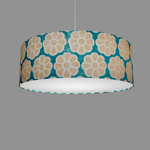 Drum Lamp Shade - P23 - Batik Big Flower on Teal, 60cm(d) x 20cm(h)
