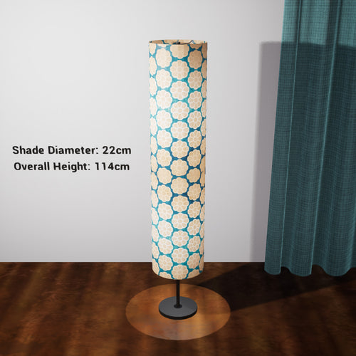 Drum Floor Lamp - P23 - Batik Big Flower on Teal, 22cm(d) x 114cm(h) - Imbue Lighting
