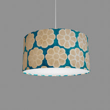 Drum Lamp Shade - P23 - Batik Big Flower on Teal, 40cm(d) x 20cm(h)