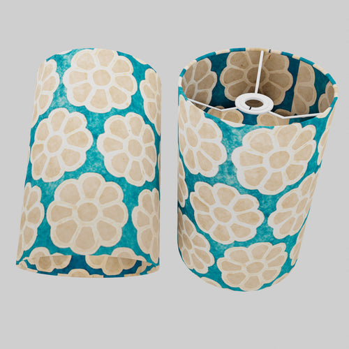 Drum Lamp Shade - P23 - Batik Big Flower on Teal, 20cm(d) x 30cm(h)