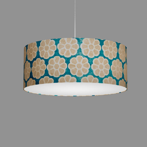 Drum Lamp Shade - P23 - Batik Big Flower on Teal, 50cm(d) x 20cm(h)