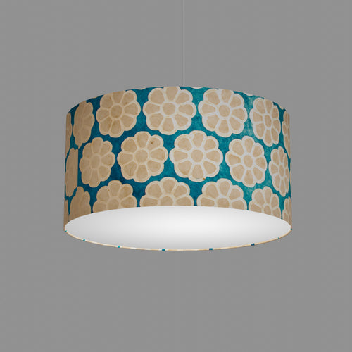 Drum Lamp Shade - P23 - Batik Big Flower on Teal, 50cm(d) x 25cm(h)