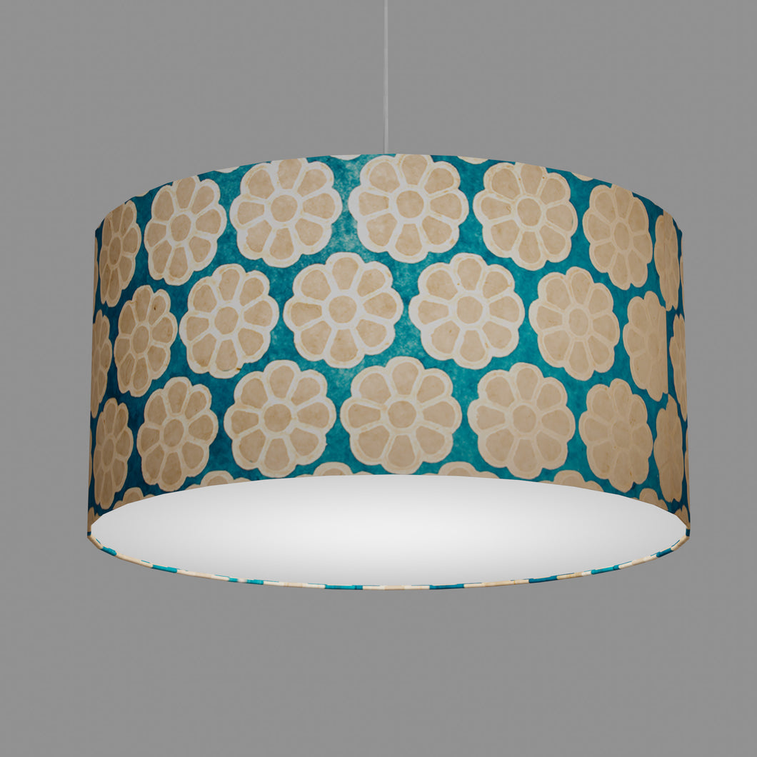 Drum Lamp Shade - P23 - Batik Big Flower on Teal, 60cm(d) x 30cm(h)