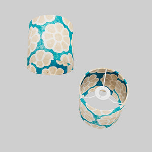 Drum Lamp Shade - P23 - Batik Big Flower on Teal, 15cm(d) x 15cm(h)