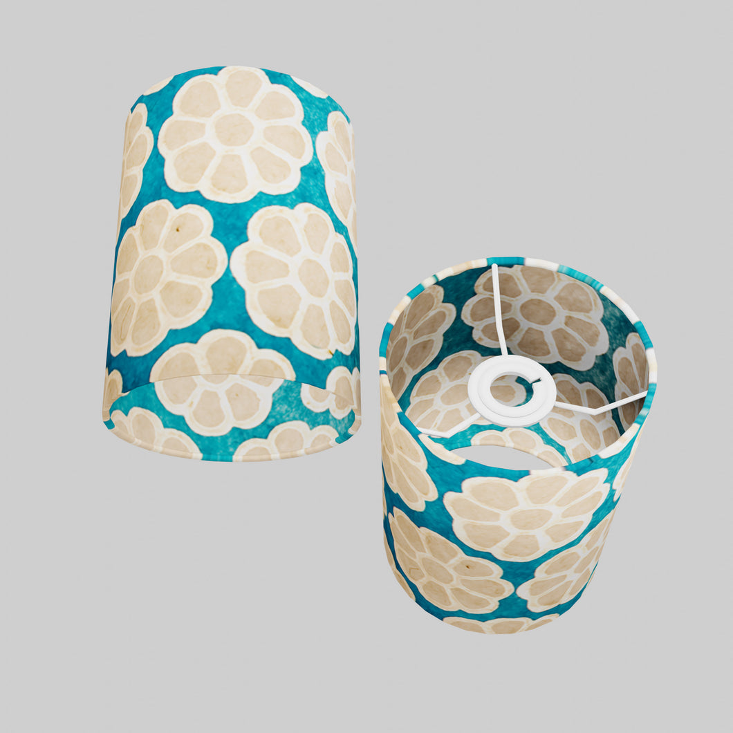 Drum Lamp Shade - P23 - Batik Big Flower on Teal, 15cm(d) x 20cm(h)