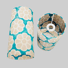 Drum Lamp Shade - P23 - Batik Big Flower on Teal, 15cm(d) x 30cm(h)