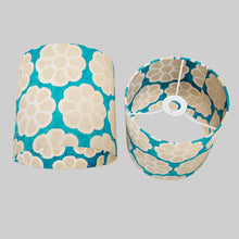 Drum Lamp Shade - P23 - Batik Big Flower on Teal, 20cm(d) x 20cm(h)