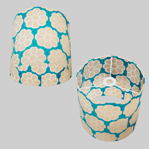 Drum Lamp Shade - P23 - Batik Big Flower on Teal, 25cm x 25cm