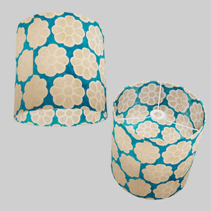 Drum Lamp Shade - P23 - Batik Big Flower on Teal, 30cm(d) x 30cm(h)
