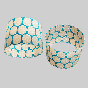 Drum Lamp Shade - P23 - Batik Big Flower on Teal, 40cm(d) x 30cm(h)