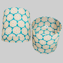 Drum Lamp Shade - P23 - Batik Big Flower on Teal, 40cm(d) x 40cm(h)