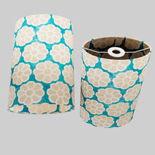 Oval Lamp Shade - P23 - Batik Big Flower on Teal, 20cm(w) x 30cm(h) x 13cm(d)
