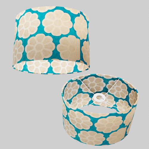 Oval Lamp Shade - P23 - Batik Big Flower on Teal, 30cm(w) x 20cm(h) x 22cm(d)