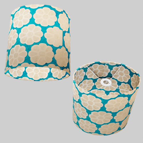 Oval Lamp Shade - P23 - Batik Big Flower on Teal, 30cm(w) x 30cm(h) x 22cm(d)