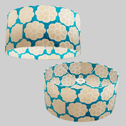 Oval Lamp Shade - P23 - Batik Big Flower on Teal, 40cm(w) x 20cm(h) x 30cm(d)