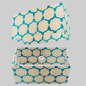 Rectangle Lamp Shade - P23 - Batik Big Flower on Teal, 50cm(w) x 25cm(h) x 25cm(d)