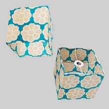 Square Lamp Shade - P23 - Batik Big Flower on Teal, 20cm(w) x 20cm(h) x 20cm(d)