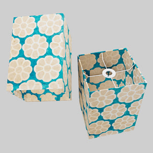 Square Lamp Shade - P23 - Batik Big Flower on Teal, 20cm(w) x 30cm(h) x 20cm(d)