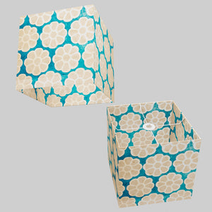 Square Lamp Shade - P23 - Batik Big Flower on Teal, 30cm(w) x 30cm(h) x 30cm(d)