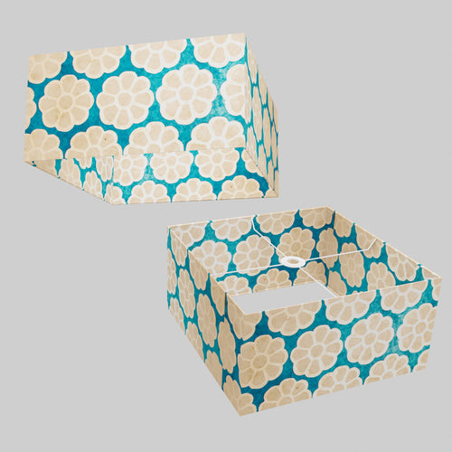 Square Lamp Shade - P23 - Batik Big Flower on Teal, 40cm(w) x 20cm(h) x 40cm(d)