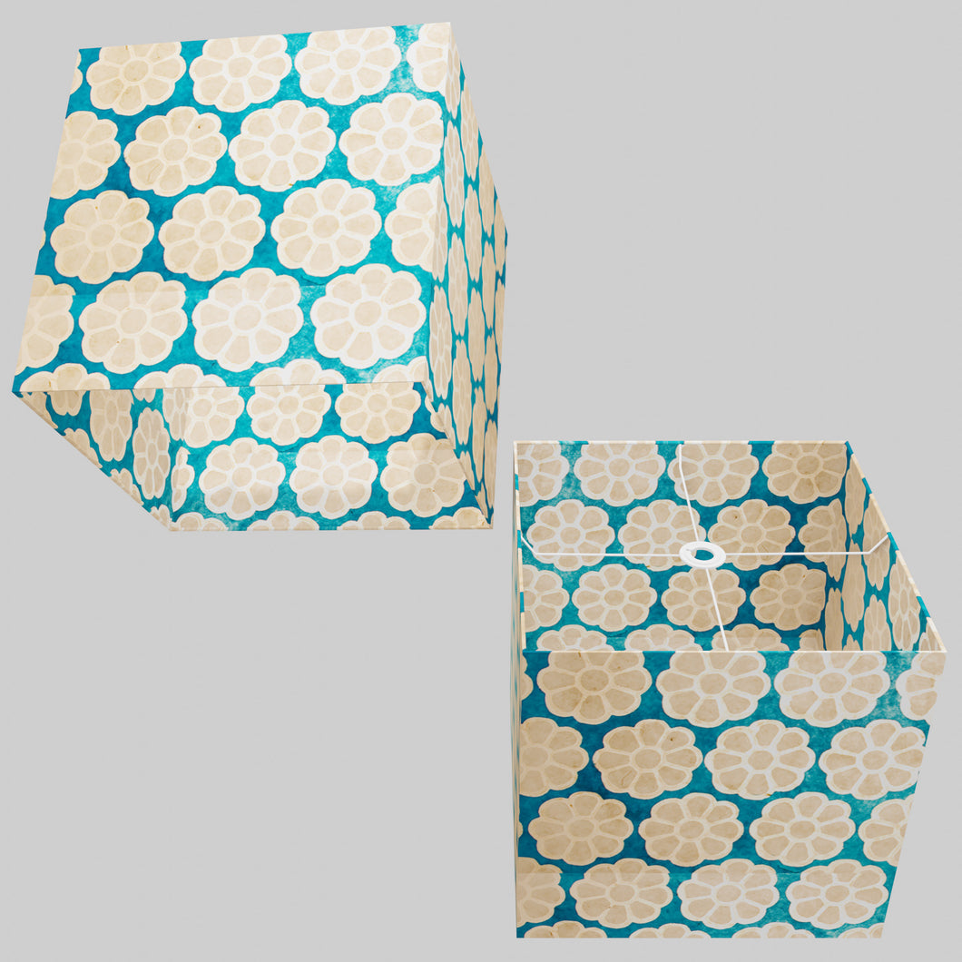 Square Lamp Shade - P23 - Batik Big Flower on Teal, 40cm(w) x 40cm(h) x 40cm(d)