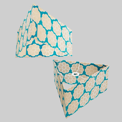 Triangle Lamp Shade - P23 - Batik Big Flower on Teal, 40cm(w) x 20cm(h)