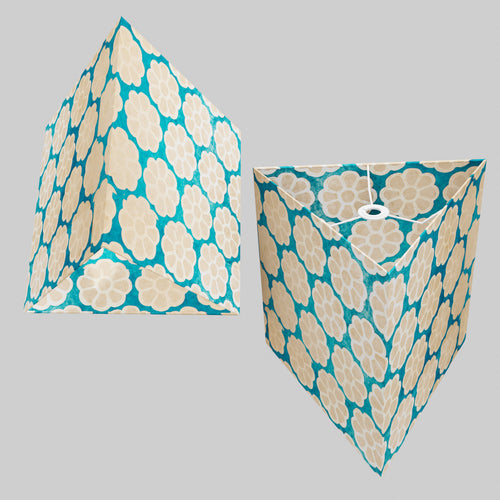 Triangle Lamp Shade - P23 - Batik Big Flower on Teal, 40cm(w) x 40cm(h)