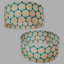 Drum Lamp Shade - P23 - Batik Big Flower on Teal, 70cm(d) x 30cm(h)