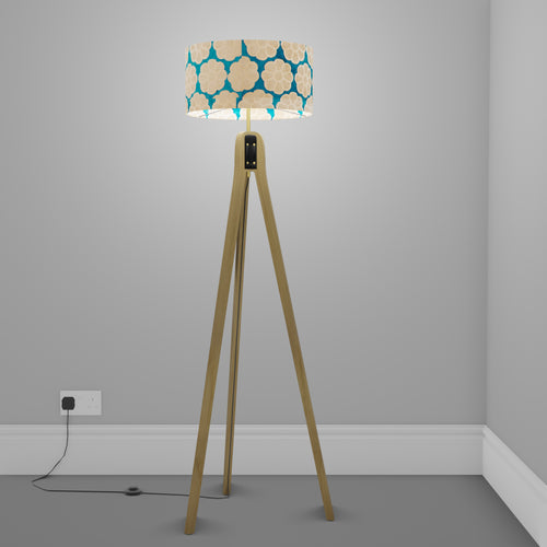 Oak Tripod Floor Lamp - P23 - Batik Big Flower on Teal