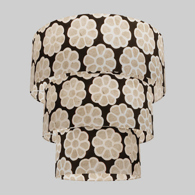 3 Tier Lamp Shade - P24 -Batik Big Flower on Black, 50cm x 20cm, 40cm x 17.5cm & 30cm x 15cm