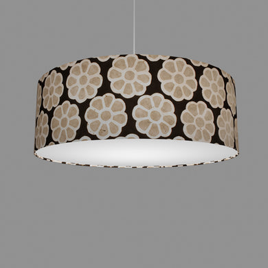 Drum Lamp Shade - P24 -Batik Big Flower on Black, 60cm(d) x 20cm(h)
