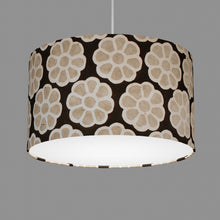 Drum Lamp Shade - P24 -Batik Big Flower on Black, 35cm(d) x 20cm(h)