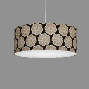 Drum Lamp Shade - P24 -Batik Big Flower on Black, 50cm(d) x 20cm(h)