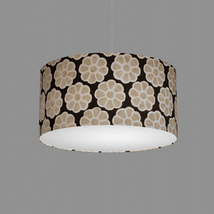 Drum Lamp Shade - P24 -Batik Big Flower on Black, 50cm(d) x 25cm(h)