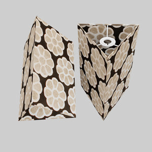 Triangle Lamp Shade - P24 -Batik Big Flower on Black, 20cm(w) x 30cm(h)