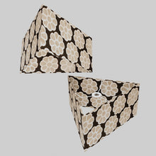 Triangle Lamp Shade - P24 -Batik Big Flower on Black, 40cm(w) x 20cm(h)