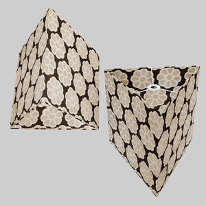 Triangle Lamp Shade - P24 -Batik Big Flower on Black, 40cm(w) x 40cm(h)