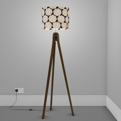 Sapele Tripod Floor Lamp - P24 -Batik Big Flower on Black