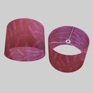 Drum Lamp Shade - P25 - Resistance Dyed Pink Fern, 40cm(d) x 30cm(h)