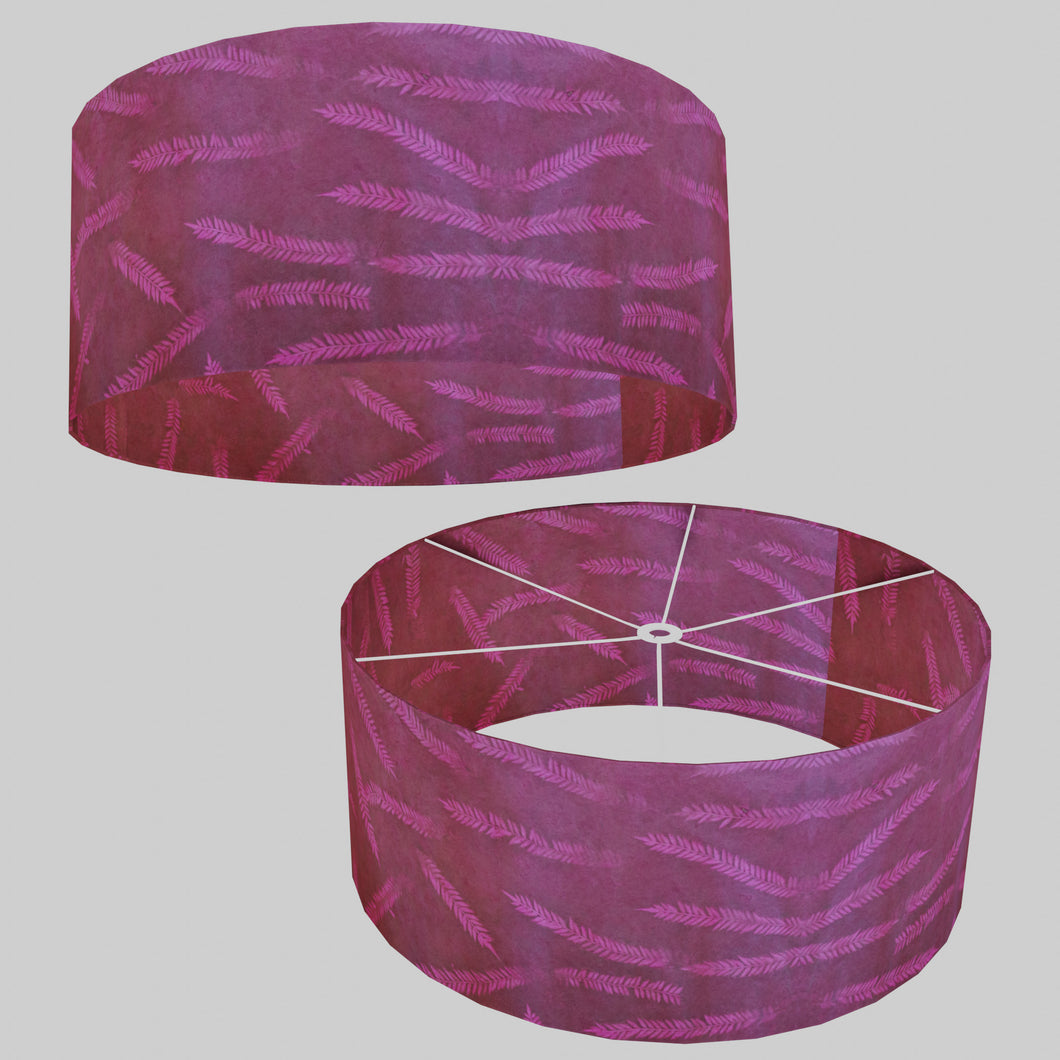Drum Lamp Shade - P25 - Resistance Dyed Pink Fern, 70cm(d) x 30cm(h)