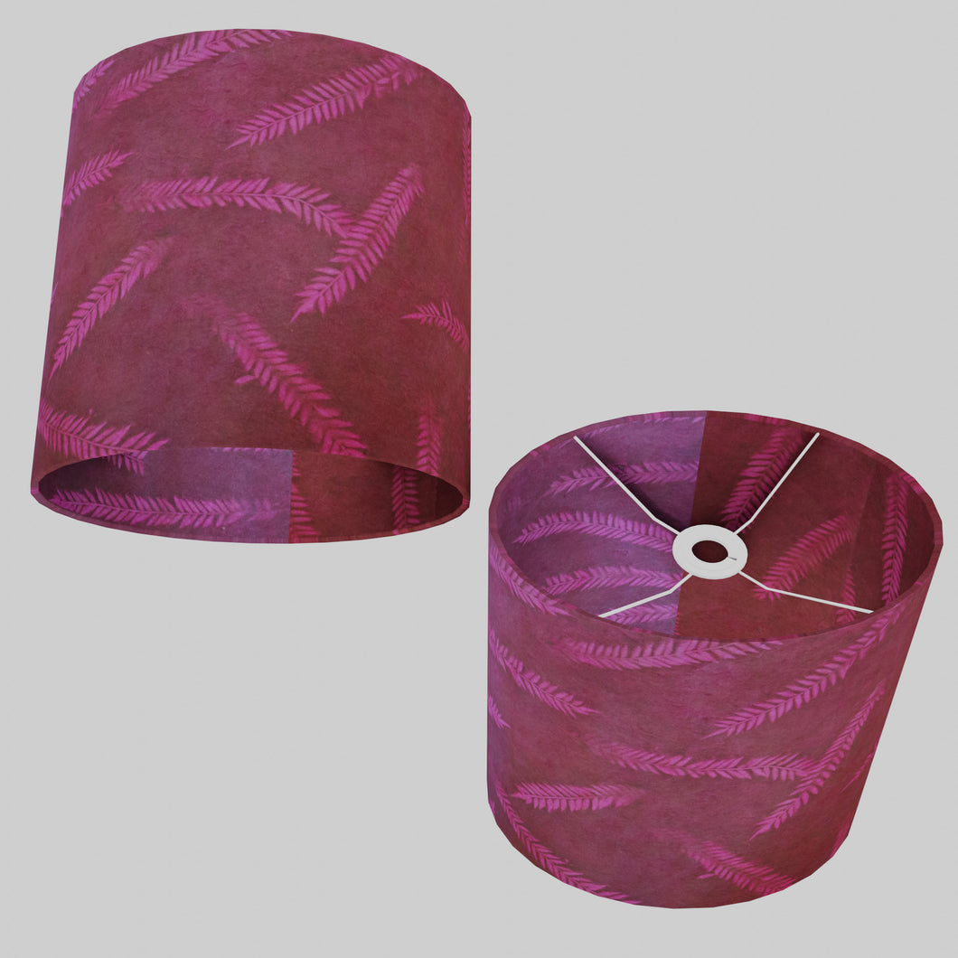 Oval Lamp Shade - P25 - Resistance Dyed Pink Fern, 30cm(w) x 30cm(h) x 22cm(d)