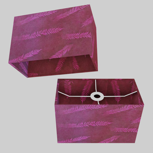 Rectangle Lamp Shade - P25 - Resistance Dyed Pink Fern, 30cm(w) x 20cm(h) x 15cm(d)