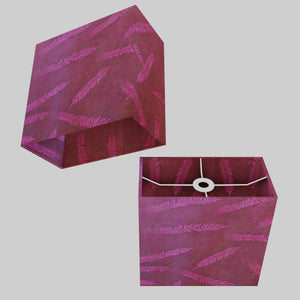 Rectangle Lamp Shade - P25 - Resistance Dyed Pink Fern, 30cm(w) x 30cm(h) x 15cm(d)